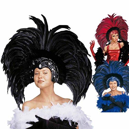 Amakando Tocado brasileo de plumas para showgirl, accesorio para disfraz de Brasil, color negro