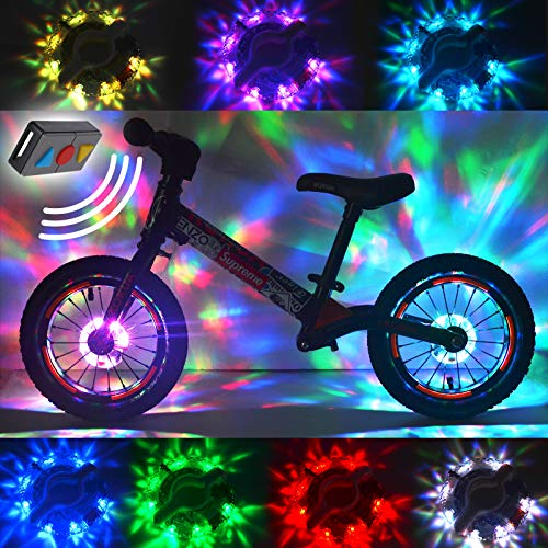 2 Packs Bike Wheel Lights,Remote Control LED Bike Wheel Hub Lights,Bike lighting Accessories,Rechargeable Spoke lights for Kids and Adults,Cycling Essentials & Birthday Gifts,IP65,2Packs