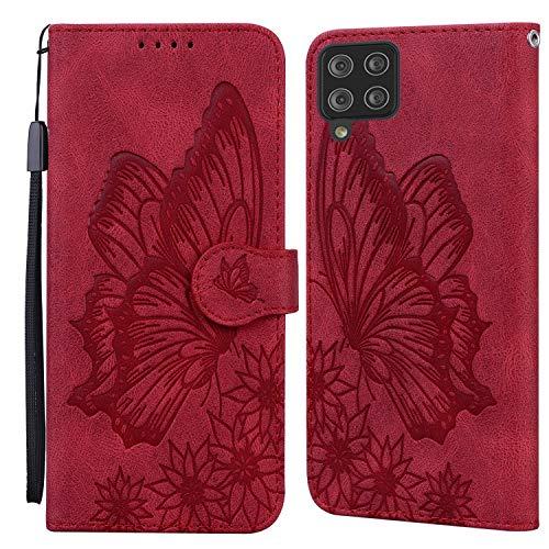 JRIANY Hülle für Samsung Galaxy A12 Lederhülle Brieftasche Handyhülle mit Schmetterling Blume Muster PU Leder Tasche Hülle Klapphüllen Standfunktion Magnetverschluss Stoßfest Schutzhülle, Rot