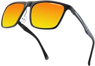Vintage Polarized Sunglasses for Men Women, Al-Mg Metal Frame Colorful Lens, Ultra Light, HOWARD & HANSON