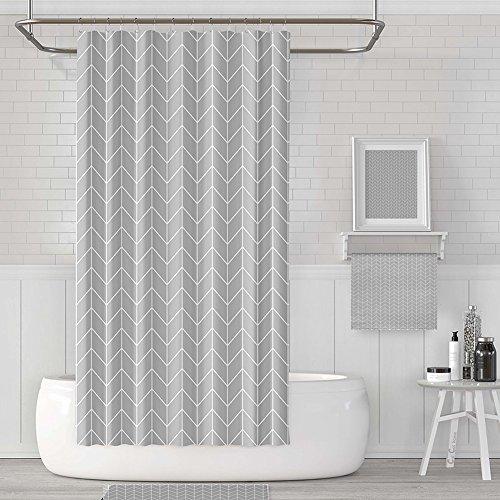 HM&DX wasserdichte gestreiften peva duschvorhang mit Haken schimmel und mehltau resistente tür-Fenster-vorhänge -Grau 200cmx240cm (78.7''x94.5'')