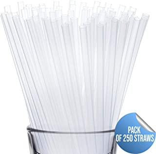 Disposable Drinking Straws by WOW Plastic – 250 Pack of Plastic Straws – Non-BPA Clear Drinking Straws for Hot and Cold Beverages – Premium Straw Bulk – 7 ¾-Inch Long Straws for Restaurants