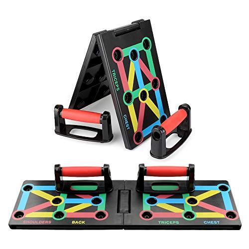 MILFECH Push up Board Faltbare 12 in 1 Push-up Rack Board mit Liegestützgriffe Push Up Bracket Brett mit Ständer Multifunktionales Indoor Muskeltraining System für Arm Schulter Brust und Rücken