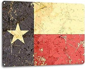 Saraheve Texas Flag Lone Star State Rustic Patriotic Garage Bar Wall Decor Metal Tin Sign 16x12in