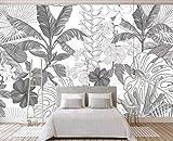Papel pintado Blanco y negro Bosque tropical de la selva Hojas de plátano Jardín Papel tapiz Dormitorio Sala de estar Fondo de pantalla TV Fondo de pantalla 3D, 150 × 105 cm