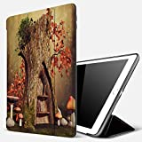 Qinniii Carcasa con Magnetic Auto-Sueño,Tocón de árbol mágico Hojas de otoño Setas Prado Fantasía Otoño Bosque,Ligéra Protectora Suave Silicona TPU Smart Cover Case para iPad 5./6.