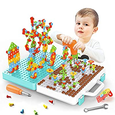 Canvint Electric Drill Toy for Kids STEM Toy, Construction Engineering Building Blocks Toy, Screw Toy 465PCS DIY Learning Toy Puzzle Creative Building for Kids Ages 3+ Years Old Education Gift