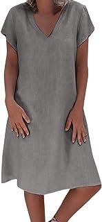 AIni Mujer Verano De Playa Vestido De Lino De Verano Vestido Mujer Mujer Camiseta AlgodóN Casual Tallas Grandes Vestido De SeñOras Tallas Grandes Vestidos De Playa