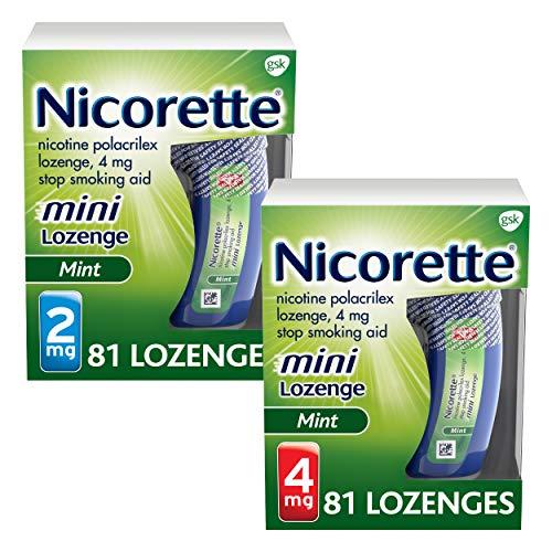 Mini Nicorette Nicotine Lozenge Stop Smoking Aid, 2 mg, Mint Flavored Smoking Cessation Product, 81 Count and 4 mg, Mint Flavored Smoking Cessation Product, 81 Count