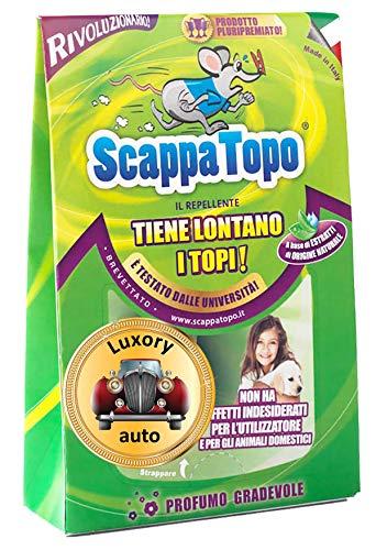 ScappaTopo Luxory Auto Repellente Naturale - Protegge la Tua Auto dai Topi Senza veleni – Unico! 2 Pezzi. Registrato aTransparency di Amazon, Che ne certifica l autenticità per Proteggere i Clienti