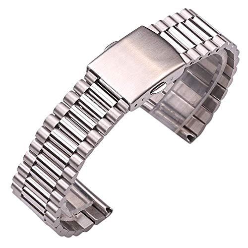 ZJSXIA Pulsera de reloj de acero inoxidable para mujer, color plateado y dorado, 12 mm, 14 mm, 16 mm, 18 mm, 20 mm, correa de reloj de metal con doble cierre (color: 18 mm, tamaño: plata)