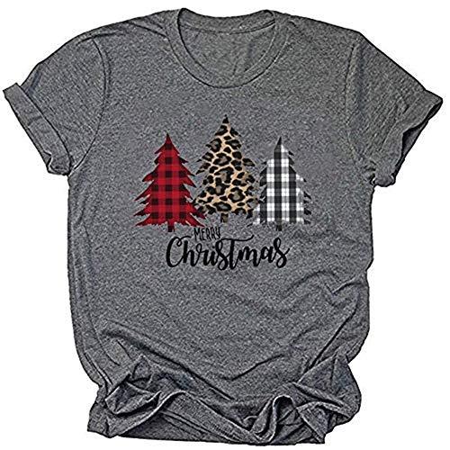 Earlymemb Womens Merry Christmas Tree Leopard Plaid Printed T-Shirt Short Sleeve T-Shirts Tops (L,Grey)