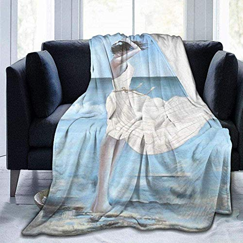 DWgatan Kuscheldecke Decke,Super Soft Fluffy Flannel Fleece Throws Mädchen an einem windigen Strand Bedruckte Bequeme Fleecedecke Fit Couch BedSofa Chair-80 X60 (200 * 150cm)