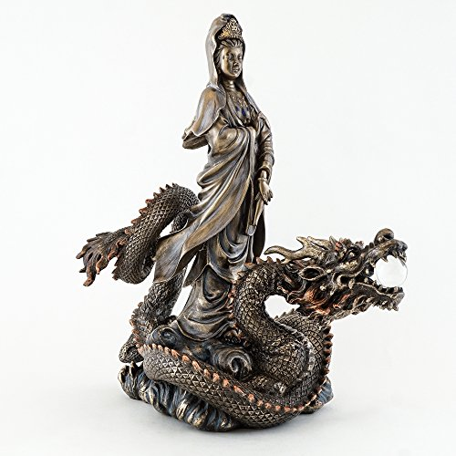 Top Collection 13' H 10.5' L Guan Yin Riding Dragon Statue. Bronze Powder Mixed with Resin - Bronze Antique Finish. East Asian Goddess of Compassion and Mercy.