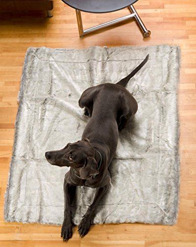 Felldecke aus Webpelzdecke, Hundedecke Silberfuchs 60x90