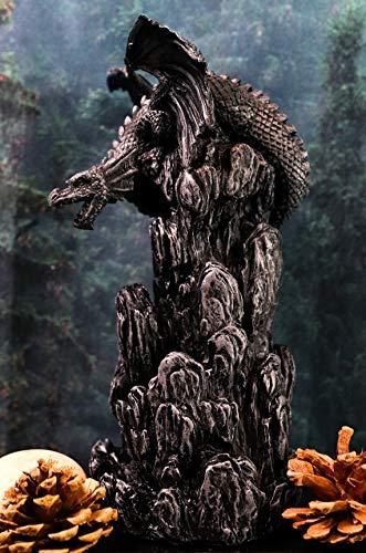 Ebros Gift Dark Smoky Mountain Chernunos Black Dragon Statue with Backflow Incense Cone Tower Burner Feature Medieval Renaissance Fantasy Myth and Magic Figurine