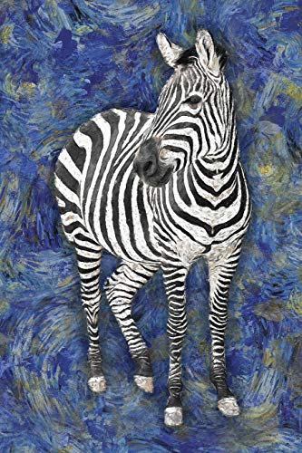 Zebra: Notebook Blank College-Ruled Lined in Van Gogh Starry Night Art Style (Student Animal Journals for Writing Journaling & Note-taking)