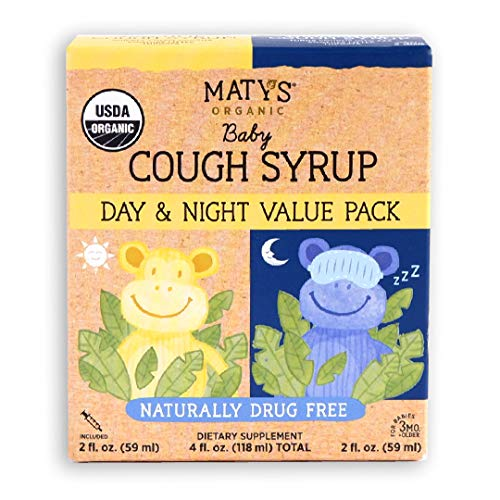 Maty's Organic Baby Cough Syrup Day & Night Value Pack, Naturally Drug Free, For Ages 3 months+