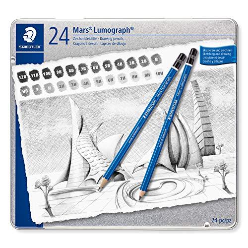 STAEDTLER Zeichenbleistift Mars Lumograph Sechskantform, unglaublich bruchfeste Premium-Bleistifte, hohe Qualität, 24 Härtegrade im Set, Metalletui, 100 G24