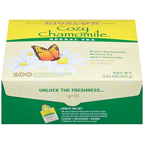 Bigelow Cozy Chamomile Herbal Tea, 100 Count Box Caffeine Free Herbal Tea
