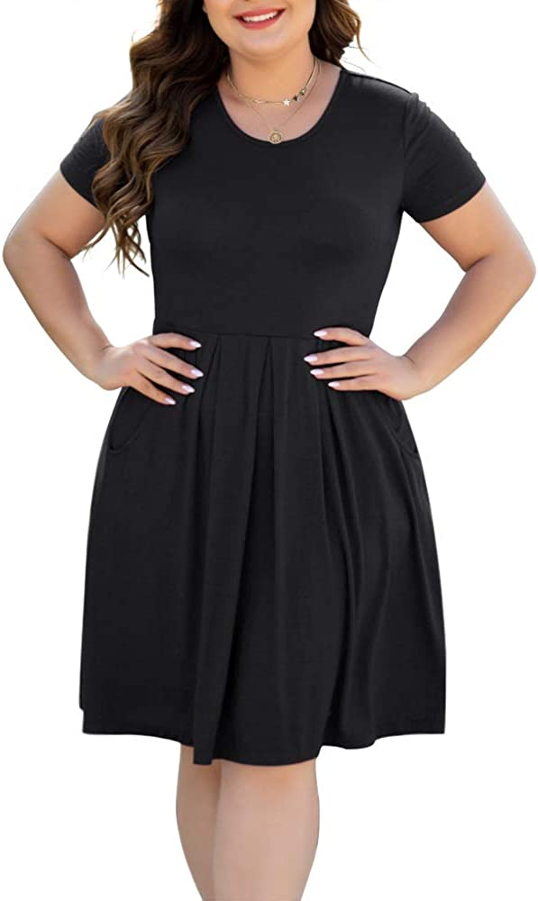 HAOMEILI Women's Plus Size Long Sleeve Dress Casual Pleated Swing Dresses with Pockets