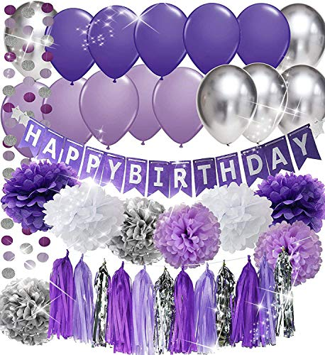 Purple Birthday Party Decorations Purple White Silver Tissue Pom Pom Happy Birthday Banner Purple Silver Latex Balloons Circle Paper Garland for Purple Birthday Decorations