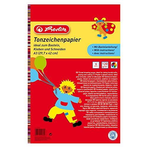 Herlitz 229302 Tonzeichenpapierblock A3, 10 Blatt