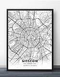 Leinwand Bild,Moskau Stadtplan Abstrakte Einfache Linie