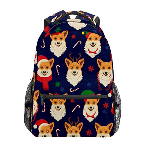 School Backpack Christmas Corgi Dog Snowflake Cane Cartoon Casual Travel Laptop Daypack Canvas Book Bags for Woman Girls Boys Student Adult Men