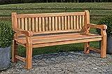 CLP Wetterfeste Gartenbank Jackson V2 aus massivem Teakholz | Holzbank mit ergonomischer Sitzfläche | In verschiedenen Größen erhältlich, Farbe:Teak, Größe:120 cm