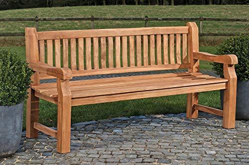 CLP Wetterfeste Gartenbank Jackson V2 aus massivem Teakholz | Holzbank mit ergonomischer Sitzfläche | In verschiedenen Größen erhältlich, Farbe:Teak, Größe:180 cm