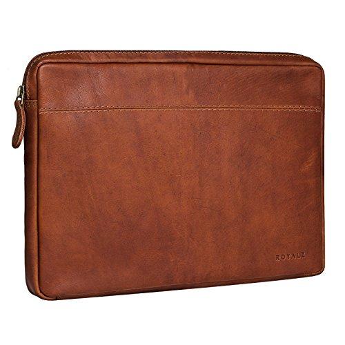 ROYALZ Universal Notebook/Tablet Ledertasche 12.3-13.3 Zoll Tasche 2in1 Convertible Ultrabook Lederhülle Schutzhülle Cover Sleeve Folio Vintage Leder, Farbe:Cognac Braun