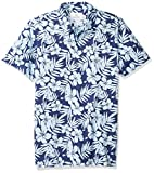 Amazon Brand - 28 Palms Men's Relaxed-Fit Performance Cotton Tropical Print Pique Golf Polo Shirt, Navy/Light Blue Hibiscus Floral, X-Small