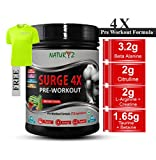 Naturyz Surge 4x Advanced Pre-Workout Supplement with 15 Ingredients for Pump, Energy