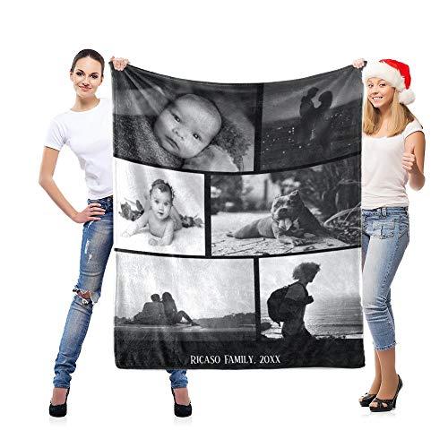 LNM Manta Personalizada con 6 Fotos Mantas Personalizadas Cumpleaños Boda Regalo del día de la Madre Imágenes Propias para Adulto Bebé Mascota,32x48(80cm×120cm)