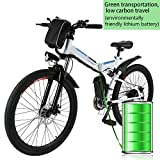 26'' Electric Folding Mountain Bike with Removable 36V 8AH Lithium-Ion Battery 250W Motor Electric Bike E-Bike 21 Speed Gear (White)