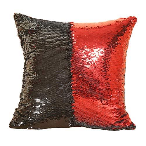 NewIncorrupt Funda de almohada Almohada de lentejuelas brillantes Funda de cojín para sofá Funda de almohada decorativa reversible para el coche de casa, 40 * 40cm, Negro,