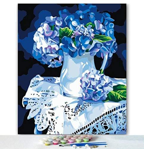 Yqgdss Blaue Vase Mit Blumen Bild Zeichnung Handgemalte Digitale Geschenk DIY Ölgemälde by Zahlen Färbung Dekor Einzigartige Kits Wandkunst Gedruckt Leinwand, Holzrahmen