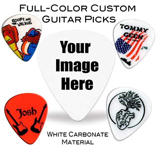 1000 Personalized Guitar Picks - Premium White Carbonate - Full-Color Custom Guitar Picks with Your Photo or Design. Durable Material with Detailed Print. Great Gift for Any Musician.
