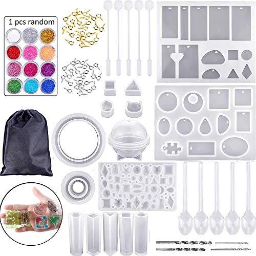 Queta 83Pcs Résine Moules DIY Effacer Silicone Résine Époxy Résine Moules pour Pendentifs Fabrication de Bijoux DIY Artisanat avec Moulage Moules Outils Ensemble (Type1)