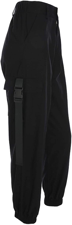 Pursuitofself Women Cargo Pants Capri High Waist Loose