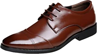 967efbdbe3928a JOYTO Chaussure Homme Cuir, Lacets Derby Mariage Dressing Oxford Business  Cuir Vernis Brogue Vintage Noir