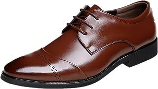 JOYTO Chaussure Homme Cuir, Lacets Derby Mariage Dressing Oxford Business Cuir Vernis Brogue Vintage Noir Marron Rouge 37-...