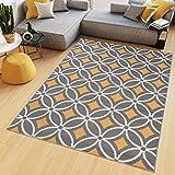 TAPISO Maya Alfombra de Salón Sala Comedor Diseño Moderno Naranja Gris Blanco Geométrico Mosaico Delgada 200 x 300 cm
