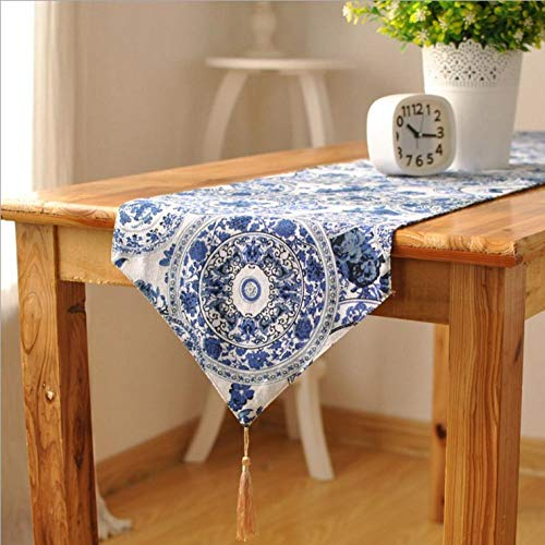 Nice-Doormats Camino de Mesa de Lino y algodón sin Fin con Estampado clásico de Porcelana Azul y Blanca para Restaurante, decoración de Mesa para el hogar