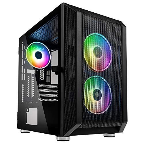 KOLINK Citadel Mesh RGB Micro-ATX Gehäuse Computergehäuse, PC Hülle, Glasgehäuse, PC Case, PC Gehäuse Klein, Seitlich PC Gehäuse Durchsichtig, Computer Gehäuse, PC Case Schwarz