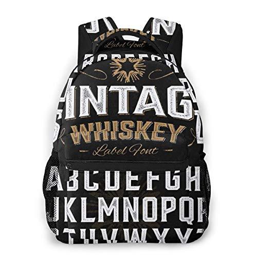 Laptop Rucksack Schulrucksack Bier Whisky Label, 14 Zoll Reise Daypack Wasserdicht für Arbeit Business Schule Männer Frauen
