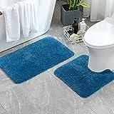 MIULEE 2 Piezas Alfombra de Pelusa Rizada Suave Antipolvo Antideslizante Absorbente Alfombra Lavable para Dormitorio Baño Una Forma de Rectángulo 40 x 60cm y Una Forma de U 45 x 45cm Azul