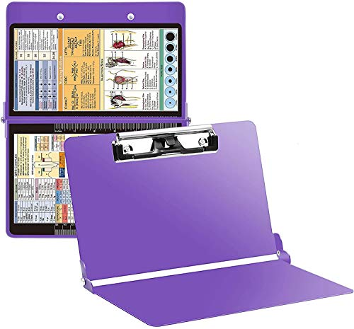 Purple Nursing Clipboard with Pen Holder, Foldable Nurse Clipboard with Generous Storage, Lightweight Aluminum Nursing Board, Ideal Gifts for Nursing Students, Nurses and Healthcare Professionals