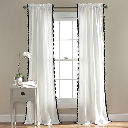 "Lush Decor Pom Curtain | Textured, Solid Color Shabby Chic Style Window Panel Drape for Living, Dining Room, Bedroom (Single), 84"" x 50"", 84"" x 50"", Black"